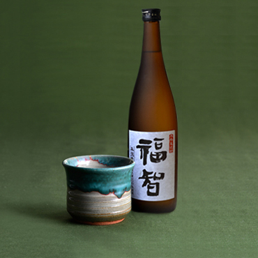 本格麦焼酎「福智」&上野焼酎杯セット(緑青流し)