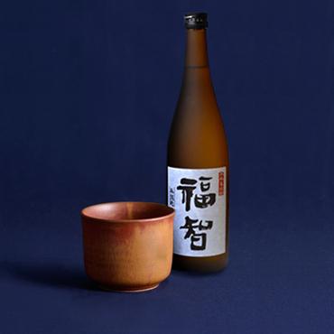 本格麦焼酎「福智」&上野焼酎杯セット(茶/鉄釉)