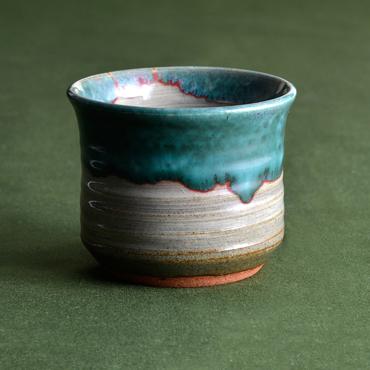 上野焼 酎杯(緑青流し)